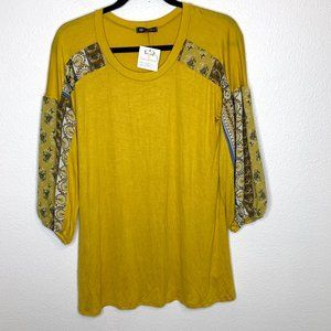 🌮Yellow boho floral flowy blouse NWT S boutique